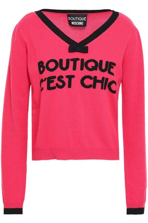 BOUTIQUE MOSCHINO Intarsia-knit wool and cashmere-blend sweater