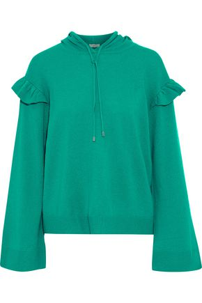 JOIE Pammeli ruffle-trimmed wool and cashmere-blend hoodie