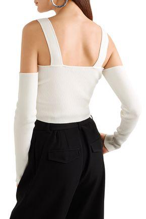 MUGLER Cold-shoulder cropped ribbed-knit top