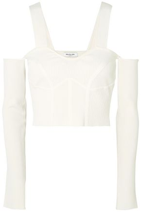 MUGLER Cold-shoulder cropped ribbed-knit top