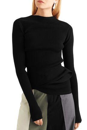 RICK OWENS Gathered marled ribbed-knit top