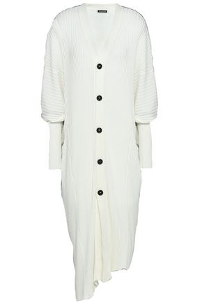 ANN DEMEULEMEESTER Ribbed cotton and cashmere-blend cardigan