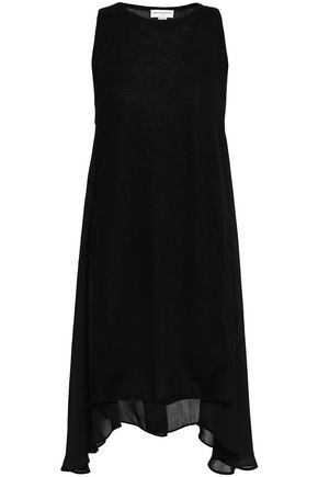 AMANDA WAKELEY Asymmetric paneled cashmere and georgette top