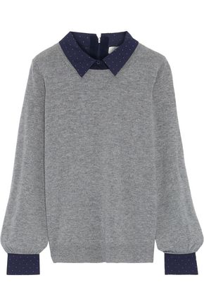 JOIE Polka-dot poplin-trimmed wool and cashmere-blend sweater