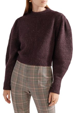 ISABEL MARANT Elaya cropped Donegal stretch-knit sweater