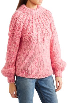 GANNI Julliard tie-back marled wool and mohair-blend sweater