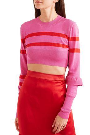 MAGGIE MARILYN Cropped striped merino wool top