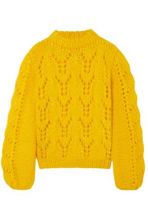 GANNI Pointelle-knit mohair and wool-blend sweater