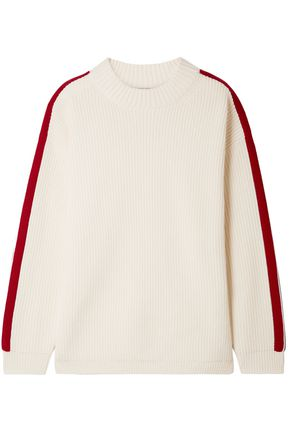 BURBERRY Iowa striped ribbed wool and cashmere-blend sweater