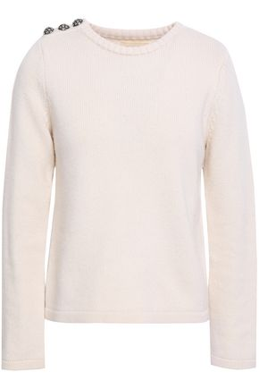 BA&SH Puma button-detailed wool and cashmere-blend sweater