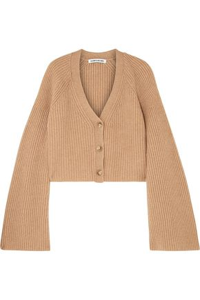ELIZABETH AND JAMES Cropped ribbed merino wool and cashmere-blend cardigan