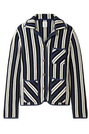 ROSIE ASSOULIN Striped intarsia-knit cashmere cardigan