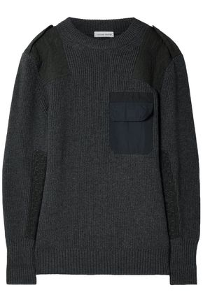 TOMAS MAIER Twill-paneled merino wool sweater