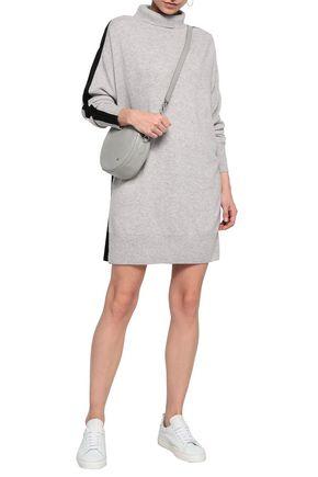 AMANDA WAKELEY Paneled cashmere and pleated crepe mini dress