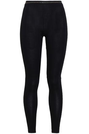 VERSACE Studded stretch-jersey leggings