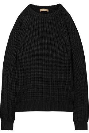 MICHAEL KORS COLLECTION Cold-shoulder ribbed-knit sweater