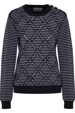 DEREK LAM 10 CROSBY Striped jacquard cotton sweater