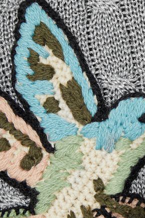 REDValentino Appliquéd metallic cable-knit sweater