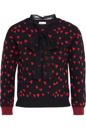 REDValentino Point d'esprit-trimmed jacquard-knit top