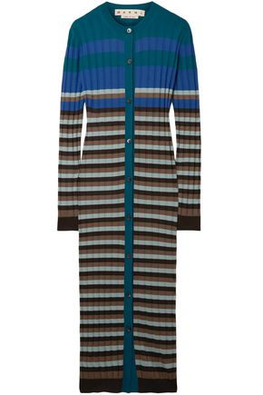 MARNI Striped ribbed wool cardigan