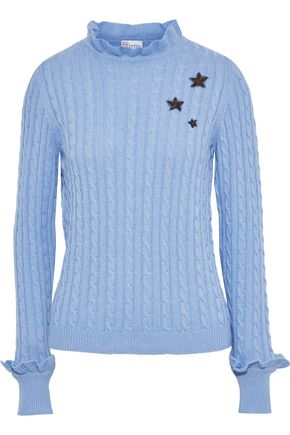 REDValentino Appliquéd cable-knit turtleneck sweater
