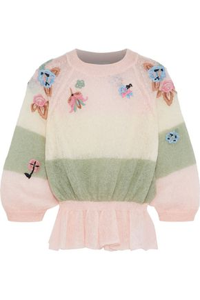 REDValentino Embroidered color-block mohair-blend sweater