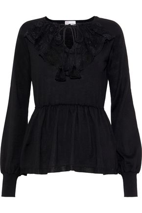 REDValentino Lace-paneled wool peplum sweater