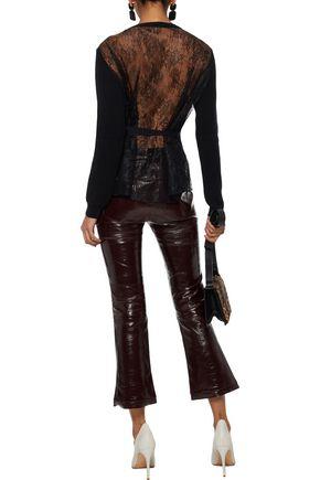 REDValentino Chantilly lace-paneled ribbed wool cardigan
