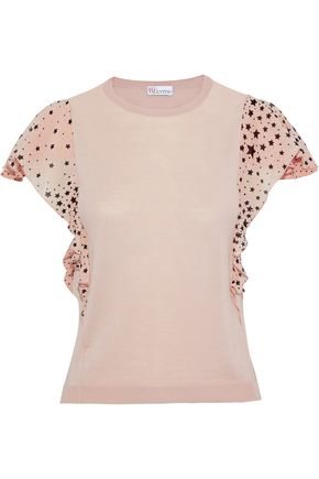 REDValentino Printed crepe de chine-trimmed silk-blend top