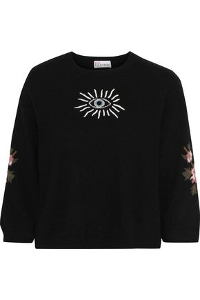 REDValentino Embroidered brushed intarsia-knit sweater