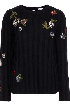 REDValentino Point d'esprit-paneled embroidered ribbed-knit sweater