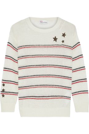 REDValentino Appliquéd striped intarsia-knit sweater