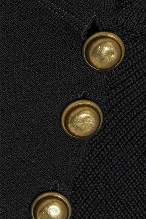 RED(V) Button-detailed point d'esprit-paneled wool sweater