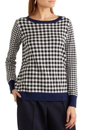 MAX MARA Gingham silk and wool-blend sweater