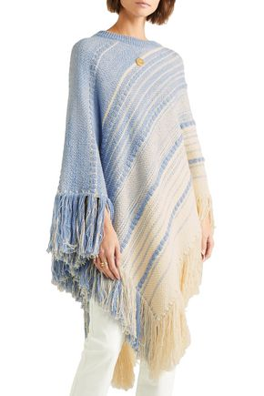 CHLOÉ Fringed cotton and wool-blend poncho