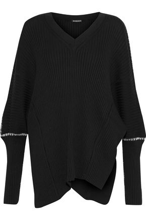 ANN DEMEULEMEESTER Ribbed cotton and cashmere-blend sweater