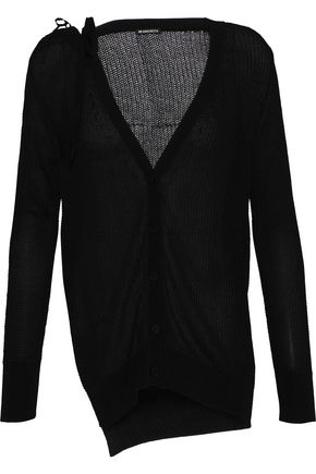 ANN DEMEULEMEESTER Lace-up open-knit cotton cardigan