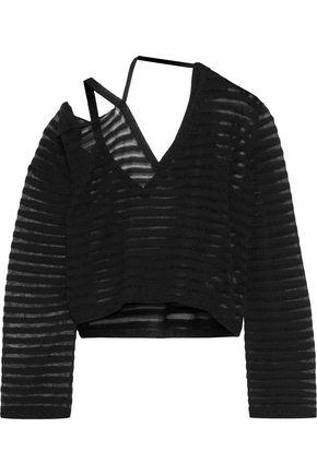 ANN DEMEULEMEESTER Cutout striped open-knit cotton top