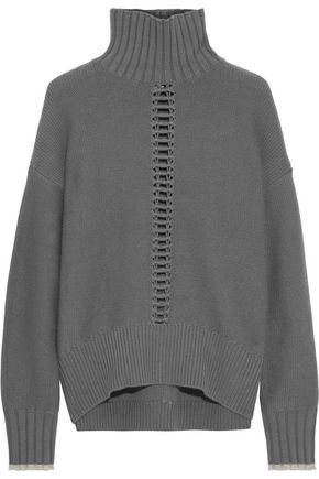DUFFY Open knit-trimmed wool and cashmere-blend turtleneck sweater