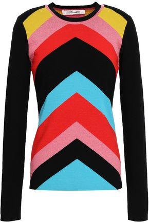 DIANE VON FURSTENBERG Intarsia-knit wool-blend sweater