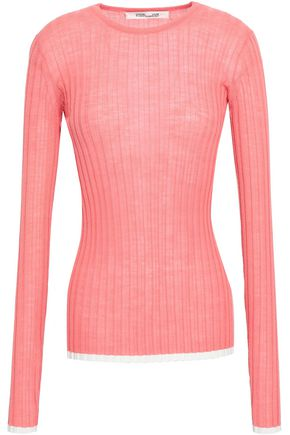 DIANE VON FURSTENBERG Ribbed-knit wool-blend top