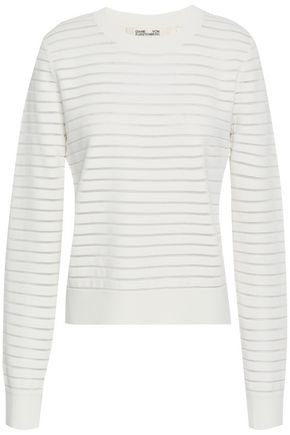 DIANE VON FURSTENBERG Mesh-trimmed stretch-knit top