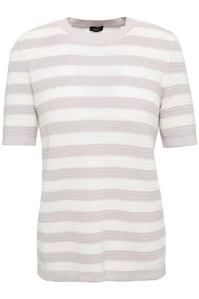 JOSEPH Striped open-knit cotton top