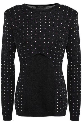 BALMAIN Cutout crystal-embellished stretch-knit top