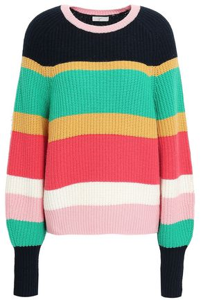 JOIE Striped ribbed wool and cashmere-blend sweater