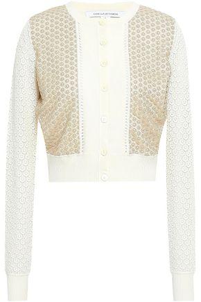 DIANE VON FURSTENBERG Macramé-paneled silk-blend cardigan