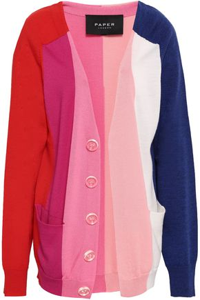 PAPER London Dolly button-embellished color-block wool cardigan