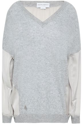 AMANDA WAKELEY Satin-paneled cashmere and wool-bend sweater