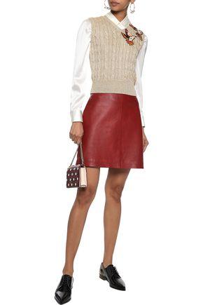 REDValentino Appliquéd metallic cable-knit vest