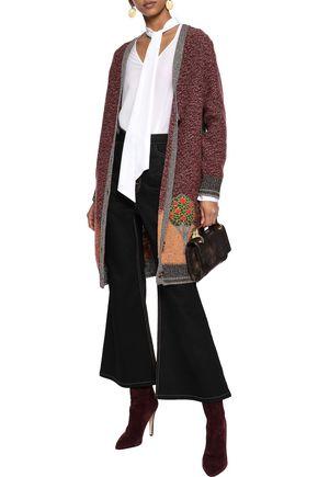REDValentino Appliquéd marled wool-blend cardigan